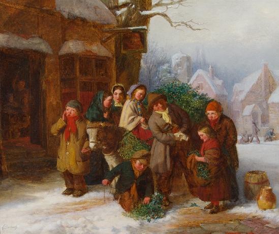 The Holly Cart By Edward Charles Barnes British Fl. 1856