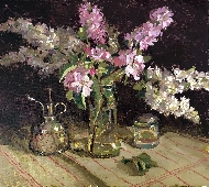 White Lilacs, Stocks and Apple Blossom